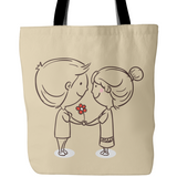 LOVE Makes Us Smile Tote Bags