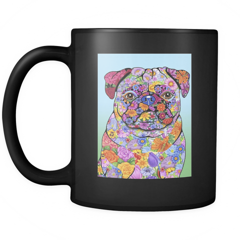 Flowered Pug  - Black Mug - Muggalicious