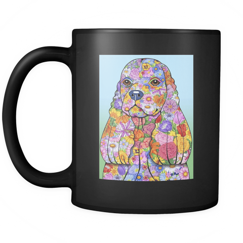 Flowered American Cocker Spaniel - Black Mug - Muggalicious