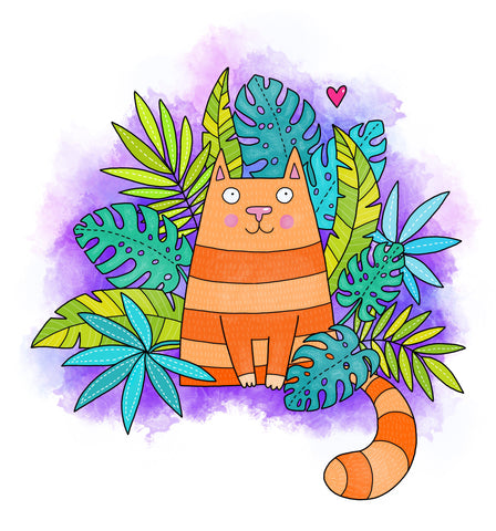 Orange Striped Jungle Cat - Wall Art Canvas