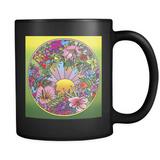 Pop Art Flower Circle - Black Mug - Muggalicious