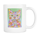 Spring Flower Cat - White Mug