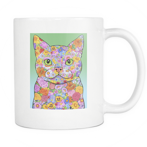 Spring Flower Cat - White Mug - Muggalicious
