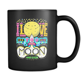 Moon and Back Love - Black Mug - Muggalicious