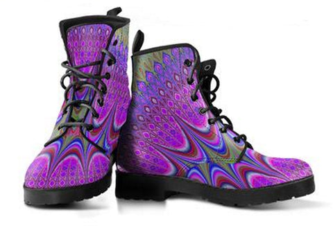 Mandala Purple Print Women's Vegan-friendly Leather Boots - Muggalicious