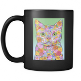 Spring Flower Cat - Black Mug - Muggalicious