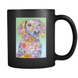 Flowered Dachshund - Black Mug