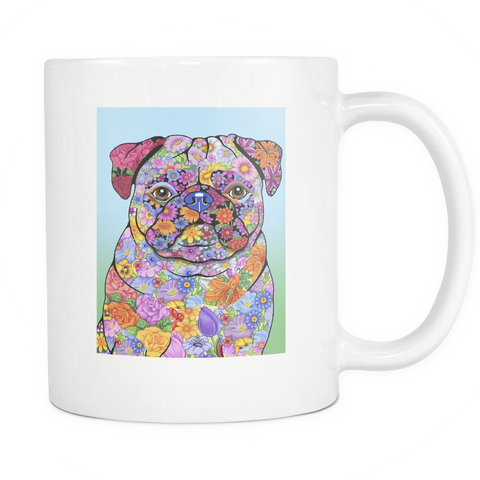 Flowered Pug - White Mug - Muggalicious