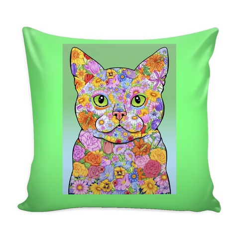 Spring Flower Cat -  Pillow Covers - Muggalicious