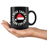 Dear Santa - I Can Explain - Black Mug - Muggalicious