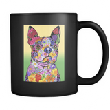 Flowered Boston Terrier - Black Mug - Muggalicious