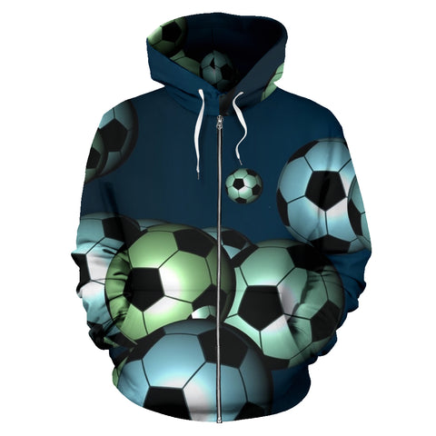 Floating Soccer Balls in the Sky Zipper Front Hoodies - Muggalicious