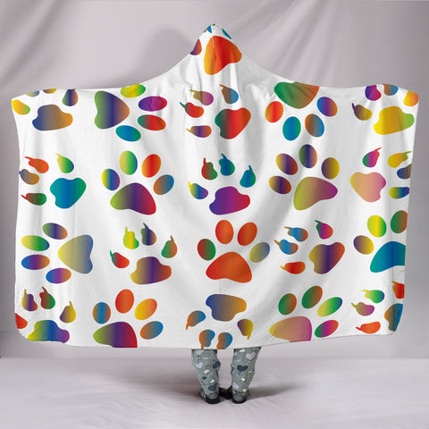 Colorful Paws Walk All Over Me Hooded Blanket - Muggalicious