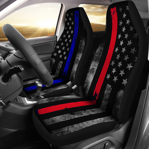 Thin Blue and Red Line Combined Car Seat Cover Set