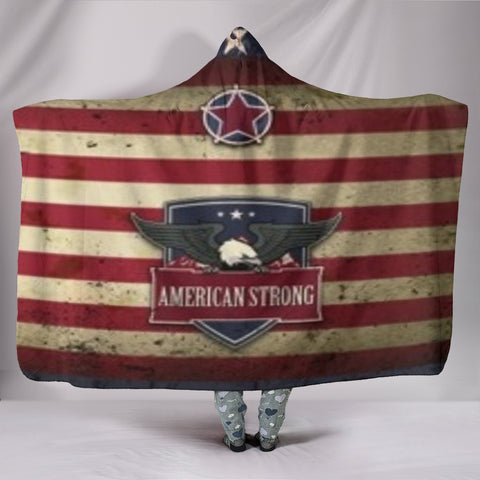 American Flag Strong with Eagle and Star - Hooded Blanket - Muggalicious