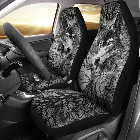 Wolf Head Tree Grey Universal Fit Car Seat Covers