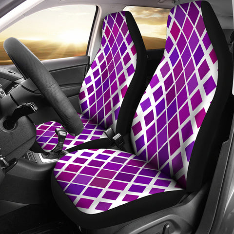 Abstract Purple Diamonds on White Car Seat Cover Set
