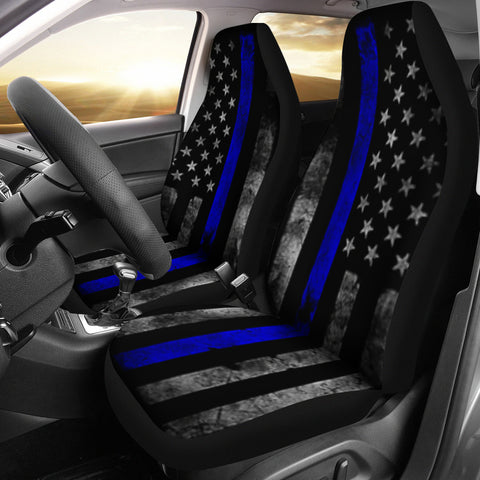 Thin Blue Line Police Car Seat Covers
