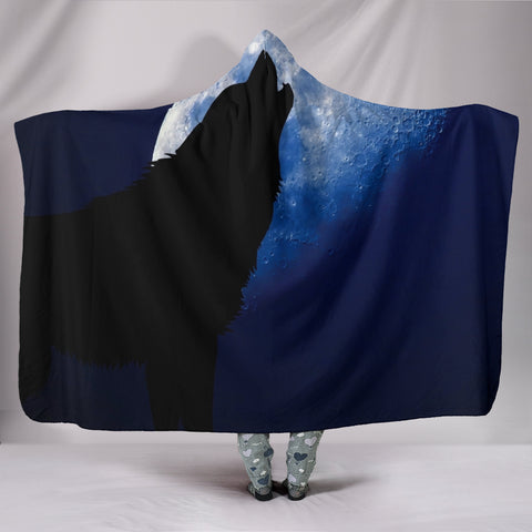 Wolf Howling at a Full Moon Hooded Throw Blanket