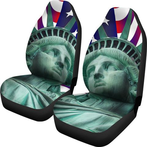 Statue of Liberty with American Flag Car Seat Cover Set