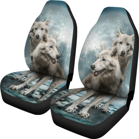 Wolves In Snow Design Universal Fit Car Seat Cover Set Muggalicious