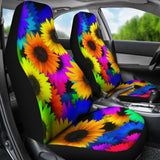 Retro Hippie Colorful Sunflowers Universal Fit Car Seat Covers