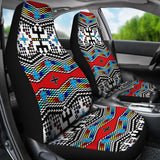 Aztec Inspired Grey and Red Universal Fit Car Seat Cover Set