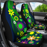 Hippie Flower Power Pattern Universal Fit Car Seat Cover Set - Muggalicious