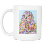 Flowered American Cocker Spaniel - White Mug - Muggalicious