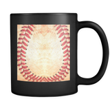 Baseball Stitches - Black Mug - Muggalicious