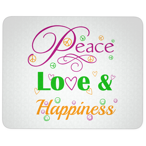 Peace, Love & Happiness Mouse Pad - Muggalicious