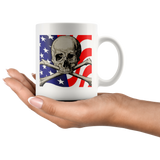 American Flag and Skull White Mug - Muggalicious