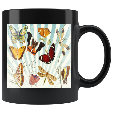 Butterfly Collage Classic Black Mug - Muggalicious