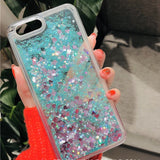 Mint Heart Liquid Glitter Case