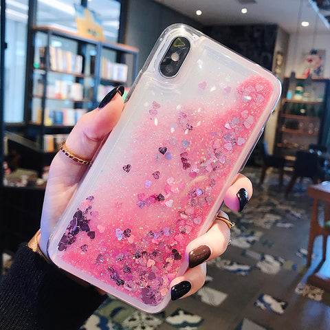 Heart Liquid Glitter Case iPhone Case (Pink)