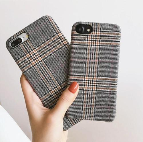 Gray Fabric Grid iPhone Case