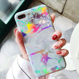 Holo Turquoise Gray Marble iPhone Case