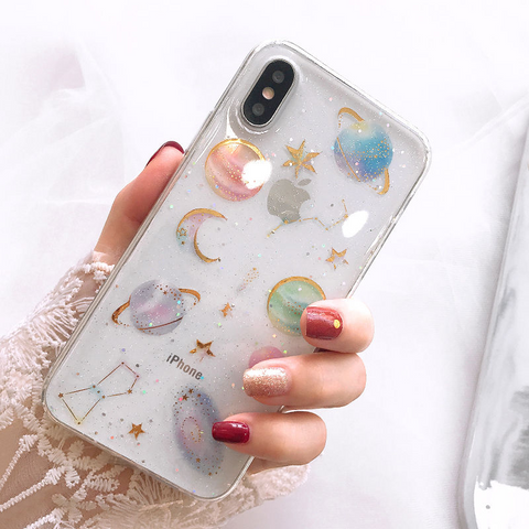 Glitter Planet iPhone Case (Clear)
