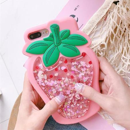 Glitter Strawberry iPhone Case (Pink)
