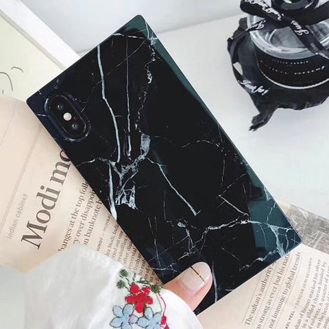 Square Marble iPhone Case (Black)