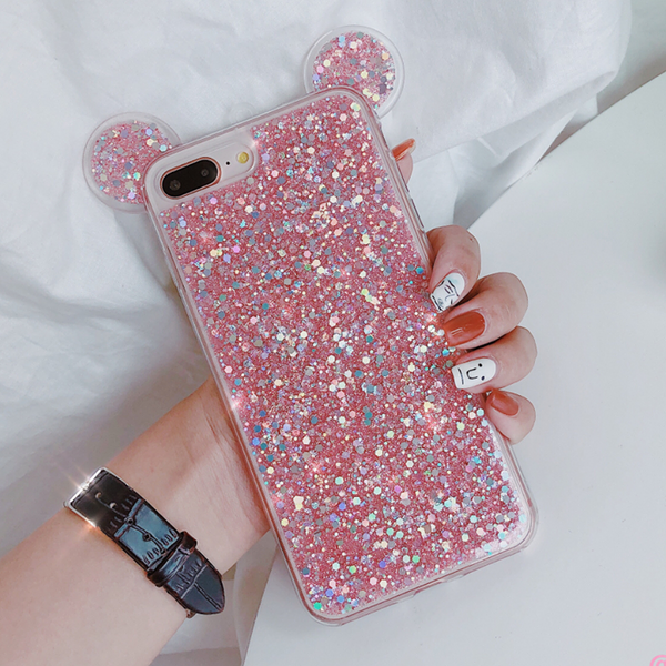 Glitter Mickey Ear Case (Pink)