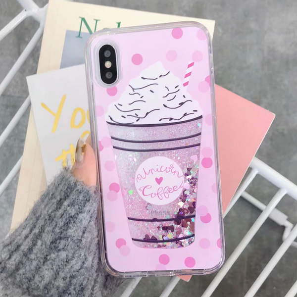 Unicorn Coffee Glitter iPhone Case