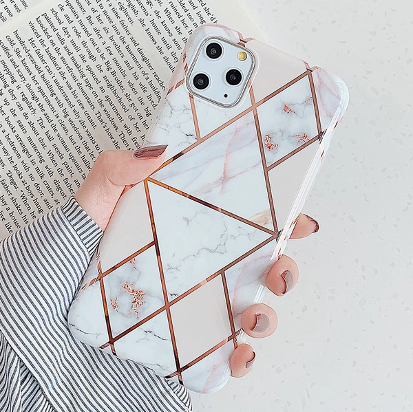 Geometric Marble iPhone Case (Rose Gold)