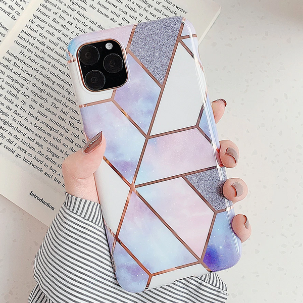 Geometric Marble iPhone Case (Purple)