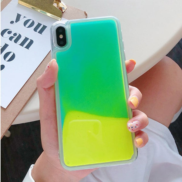 Luminous Neon Waterfall iPhone Case (Green-Yellow)
