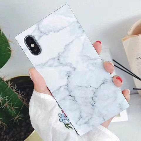 Square Marble iPhone Case (White)