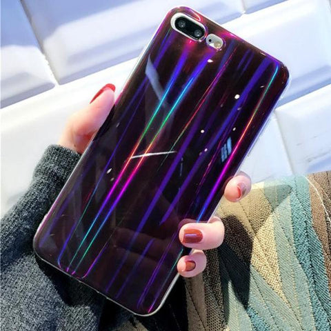 Purple Holographic Laser iPhone Case