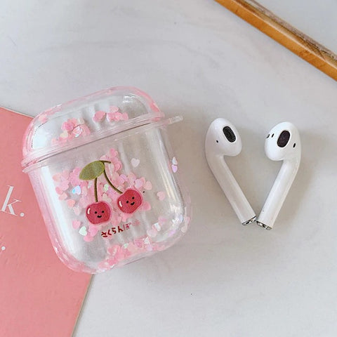 Cherry Glitter Airpods Case