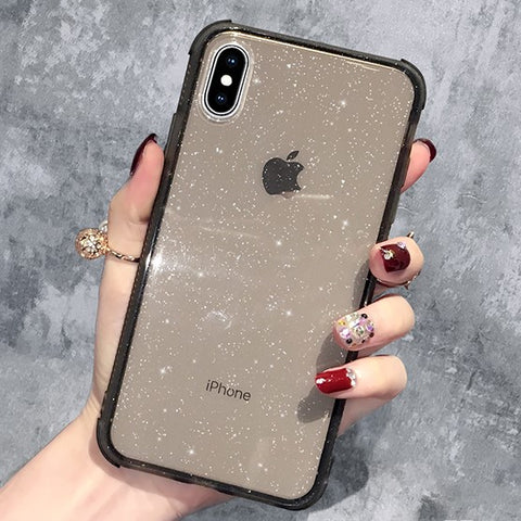 Clear Glitter Shockproof Case with Black Bumpers