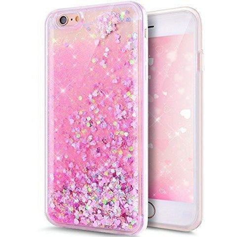 Pink Heart Liquid Glitter Case